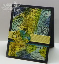 Stampin' Up! World Map with background tutorial by Debbie Henderson, Debbie's Designs.