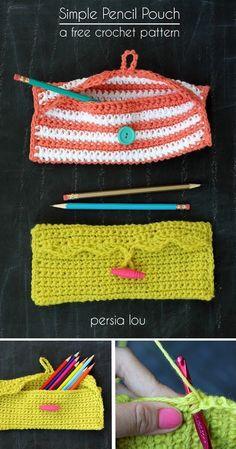 Simple Pencil Pouch Crochet Pattern ༺✿ƬⱤღ  http://www.pinterest.com/teretegui/%E2%9C%BF%E0%BC%BB