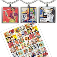Retro 1950s Housewife adverts Women in the Kitchen 1x1square images for Jewelry Making Digital Collage Sheet