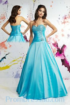 Beaded Details Sweetheart Puffy Blue Prom Dress Custom Made 2013