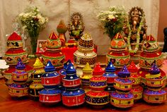 11 Fun Indian Wedding Decorations - TheBigFatIndianWedding.com Indian Wedding Decorations, Reception Decorations, Wedding Themes, Wedding Designs, Wedding Wows, Baby Wedding, Wedding Gifts, Kalash Decoration, Pottery Painting Designs