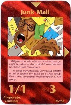 Illuminati Card Game only Published in 1995 -  Illuminati New World Order NWO Card Single JUNK MAIL
