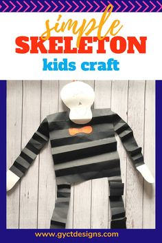 Looking for an easy preschool skeleton craft to make with your students or with your little ones at home.  Follow this step by step tutorial and free skeleton template to make your own fun hanging skeleton. Diy Crafts For Kids Easy, Kid Crafts, Preschool Crafts, Halloween Crafts, Diy For Kids, Crafts To Make, Halloween Decorations, Skeleton Template, Skeleton Craft