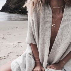 layers + sandy toes + cozy sweaters// beach life in our 'Pearl Crescent Necklace,' 'Gold Half Circle Choker,' Triple Band Organic Bracelet, 'Double Spear Ring' + 'Bella Bracelet' △ ▼