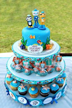 Octonauts Birthday Cake Tower… Haha Garret said he wanted cake pops, cupcakes, and cake… I don;t think I'd have time for all of this but I love it!