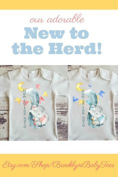 Surprise! What a great way to introduce your new little herd member with our New To The Herd Elephant Bodysuit!! Elephants and zoo animals are the latest trend for babies, and your little peanuts will be so comfortable wearing this buttery soft bodysuit.  $17.50-$18.50 Click on the link below to find this adorable bodysuit!  #newtotheherdelephantbodysuit #newtotheherdelephantonesie #babyelephantonesie #elephantthemebabyshower #goinghomeonesie
