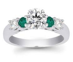 Emerald and Diamond Engagement Ring  I LOVE this!!!!!!