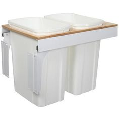 Knape & Vogt - Double 35 Quart Bin White Soft-Close Top-Mount Waste and Recycling Unit - 15 Inches Wide - Lid is not Included - TSC15-2-35WH - Home Depot Canada