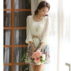 vestido de chiffon floral, em torno do pescoço da luva de 3/4 das mulheres de 2015 por R$45,68