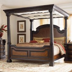Bedroom, Amazing Pretty Bown Oriental Rug With Wooden Four Poster Bed With Canopy Plus Brown And Red Bedding Set Decor Ideas: Amusing Four Poster Bed in Enchanting Design Ideas Wood Canopy Bed, Canopy Bed Frame, Canopy Beds, Bedroom Red, Bedroom Decor, Large Bedroom, Red Bedding Sets, Victorian Bedroom, Four Poster Bed