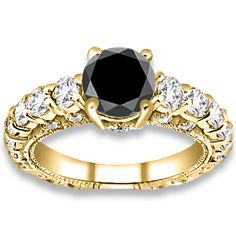 3.65 ctw 14k YG A Black, Accent I-J Color, VS - SI Clarity Diamonds Engagement Ring #diamondEngagementRing #engagementrings #Rings #Ring  #jewelry @pricepointshop http://www.pricepointshop.com/product.asp?idproduct=29786