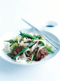 pork and ginger meatball stir-fry