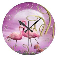 Whimsical Wonderland Pink Flamingos Clock <3