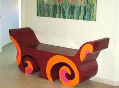 Cardboard  carton bench furniture Diy Cardboard Furniture, Paper Furniture, Bench Furniture, Furniture Design, Cardboard Cartons, Cardboard Paper, Cardboard Crafts, Chalk Paint Desk, Tyres Recycle