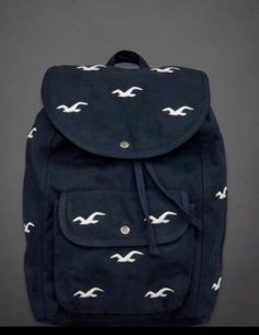 4fea25567e1d HOLLISTER HCO by A F Classic Navy Icon Seagulls BACK PACK BOOK BAG Backpack