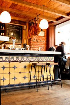 José is a wonderfully authentic sherry and tapas bar occupying a tiny corner shop mid-way down Bermondsey Street. Tapas Restaurant, Tapas Bar, Restaurant Design, Cafe Bar, Bar Tile, Espresso Bar, French Bistro, Bar Interior, Bar Areas