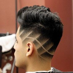 9 tapered haircut with shaved designs Taper Fade Haircut, Tapered Haircut, Short Hair Cuts For Women, Short Hair Styles, Haare Tattoo Designs, Haircut Designs For Men, Shaved Hair Designs, Hair Tattoos, Boy Hairstyles