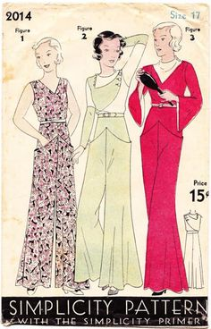 I WILL make the centre one! Simplcity 2014; ca. early 1930s; Pajamas in three styles.