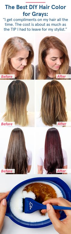 """Ditch the generic drugstore box and try this new DIY hair color: """"It was the exact hair color I was looking for but could not find. That in between color that you just can't get from store bought colors. Best Home Hair Color, Cool Hair Color, Hair Colour Design, Curly Hair Styles, Natural Hair Styles, Tips Belleza, Great Hair, Hair Highlights, Diy Hairstyles"""