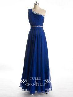 Glamorous Beaded Trimmed Bodice One Shoulder Blue Bridesmaid Dress