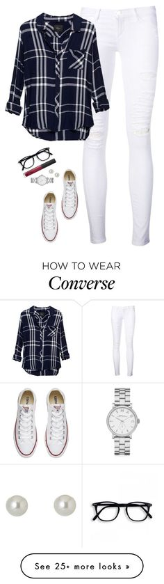"""White ripped jeans, rails hunter shirt & chucks"" by steffiestaffie on Polyvore featuring Frame Denim, Rails, Converse, Givenchy, Marc by Marc Jacobs and NARS Cosmetics"