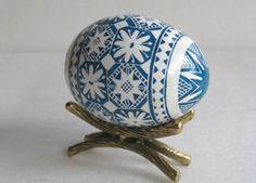 Blue Pysanka, batik egg on chicken egg shell, Ukrainian Easter egg, hand painted egg. $29.95, via Etsy.