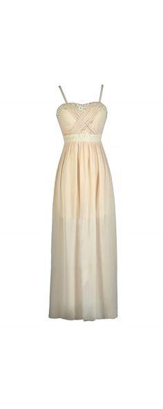 Rhinestone Age Embellished Chiffon Maxi Dress in Beige  www.lilyboutique.com