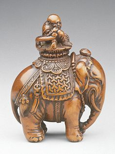 Tsuji (style of) (Japan, died N/A)   Indian Elephant, 18th century  Netsuke, Boxwood,