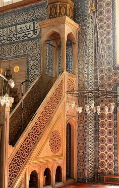 Tilework inside the Rustem Pasa Mosque, Istanbul, Turkey    ::::  PINTEREST.COM christiancross   ::::
