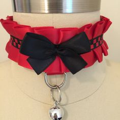 Red and Black Kitten Play Collar - BDSM Slave Maid KittenPlay PetPlay Neko by TheFlirtyKitten on Etsy