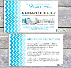 PLEASE NOTE SHIPPING IS INCLUDED IN THE COST FOR PRINTED - Rodan and fields business card template
