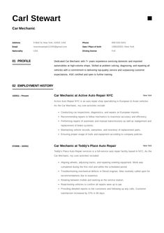 Auto Tech Resume Prepossessing Free Car Mechanic Resume Sample Template Example Cv Car .