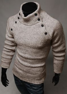 Men's fashion symmetry button color turtleneck sweater