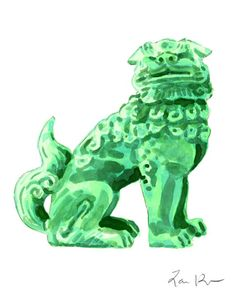 Foo Dog Green Jade China - Giclee Print of Watercolor - 8 x 11 x 14 inches Fine Art Poster Fu Lion Japan Bookends Asian Decor Porcelain Chinoiserie Chinese Antique Ming Vase Preppy Gifts, Leave Art, Chinese Wall, Hollywood Regency Decor, Lion Dog, Dog Paintings, Watercolor Paintings, Chinoiserie Chic, Canvas Prints