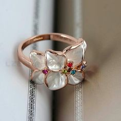 Ring Ring 18K rose gold jewelry. Austrian crystal Plt, white size 6.5 and black SIZE 9, enamel flower Jewelry Rings