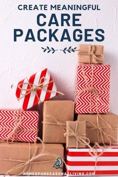 Send Meaningful Care Packages : Create meaningful gifts to those you love with t. Send Meaningful Care Packages : Create meaningful gifts to those you love with these simple, frugal Homemade Crafts, Homemade Food, Holiday Gifts, Christmas Gifts, Christmas Decor, Christmas Ideas, Christmas Care Package, Simple Gifts, Meaningful Gifts