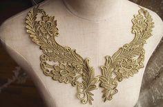 gold lace applique by pairs metallic gold lace applique