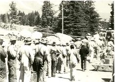 Line of WPA laborers during the construction of Timberline Lodge, ca. 1936-1937. #WPA #ORhistory