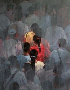 "Burmese painter Khin Zaw Latt's ""Going Home"" series."
