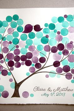 Watercolor Wedding Guest Book Alternative - anniversary bridal shower love birds - Guest book wedding tree of life
