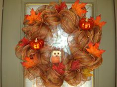 Fall Wreath Deco Mesh With Owl And Pumpkins on Etsy, $70.00