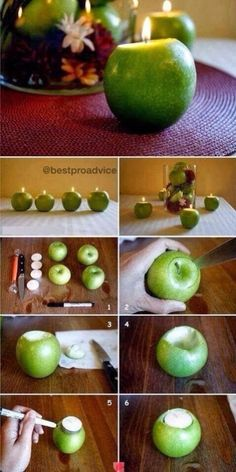 This is fun to do with grapefruits, oranges, and giant apples. Once they are lit, it smells great too!