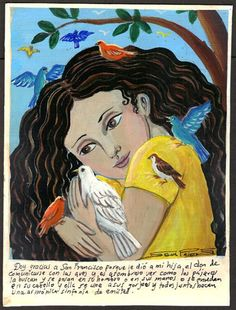 Mexican Exvoto retablo ex voto Friend of birds #NaivePrimitive