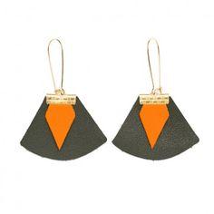 Boucles d'oreilles en cuir vert brun orange Chloé