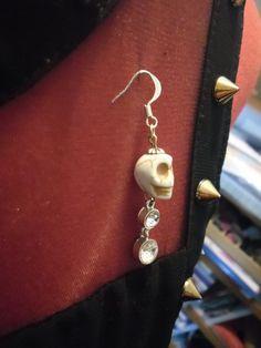 Skull and Bling statement earring by BonesandGlitter on Etsy