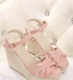 Korean version of the 2014 summer new women's fine with a combination of the word buckle high heels wedge sandals Bohemia