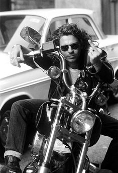 Michael Hutchence Riding in a Motorcycle Black & White Poster Michael Hutchence, Chris Cornell, Jim Morrison, Vintage Photography, Amazing Photography, Rock Bands, Rock N Roll, Heavy Metal, Beautiful Men