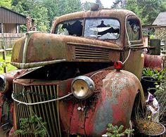 Old cars,old trucks & motorcycles! Vintage Trucks, Old Trucks, Farm Trucks, Fire Trucks For Sale, Wrecking Yards, Abandoned Cars, Abandoned Vehicles, Rust In Peace, Rusty Cars