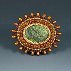 Russian Serpentine Brooch Bead Embroidered by KateTractonDesigns,