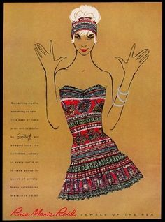 Divine 1950s advertising for Rose Marie Reid swimsuits